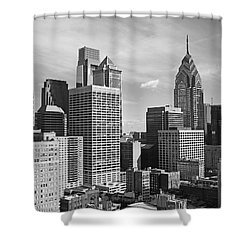 Downtown Philadelphia Shower Curtain by Rona Black