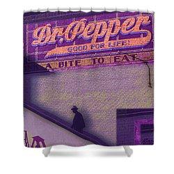 Dr Pepper Blues Shower Curtain by Tony Rubino
