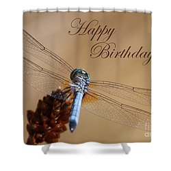 Dragonfly Birthday Card Shower Curtain by Carol Groenen