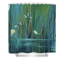 Dragonfly Diner Shower Curtain by Carol Sweetwood