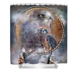 Dream Catcher - Hawk Spirit Shower Curtain by Carol Cavalaris