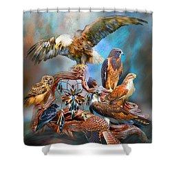 Dream Catcher - Spirit Birds Shower Curtain by Carol Cavalaris