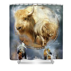 Dream Catcher - Spirit Of The White Buffalo Shower Curtain by Carol Cavalaris