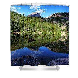 Dream Lake Rocky Mountain National Park Shower Curtain by Wayne Moran