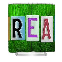 Dream License Plate Letter Vintage Phrase Artwork On Green Shower Curtain by Design Turnpike