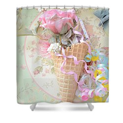 Dreamy Cottage Shabby Chic Romantic Floral Art With Waffle Cone And Party Ribbons Shower Curtain by Kathy Fornal