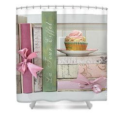 Dreamy Romantic Pastel Shabby Chic Cottage Chic Books With Pink Cupcake - Food Photography Shower Curtain by Kathy Fornal