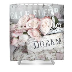 Dreamy Shabby Chic Romantic Cottage Chic Roses In White Basket  Shower Curtain by Kathy Fornal
