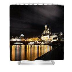 Dresden At Night Shower Curtain by Steffen Gierok