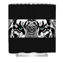 Dressed To Kill - White Tiger Art By Sharon Cummings Shower Curtain by Sharon Cummings