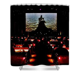 Drive-in Monster Movie Shower Curtain by Benjamin Yeager