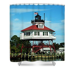 Drum Point Lighthouse Shower Curtain by Rebecca Sherman