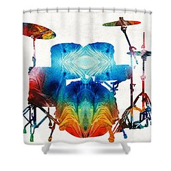 Drum Set Art - Color Fusion Drums - By Sharon Cummings Shower Curtain by Sharon Cummings
