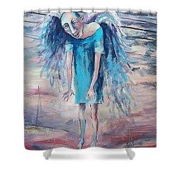 Drunk Angel Shower Curtain by Elisheva Nesis