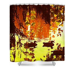 Ducks On Red Lake Shower Curtain by Amy Vangsgard