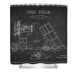Dump Truck Patent Drawing From 1934 Shower Curtain by Aged Pixel