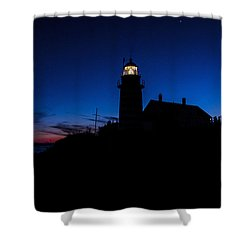 Dusk Silhouette At West Quoddy Head Lighthouse Shower Curtain by Marty Saccone