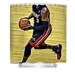 Dwyane Wade Portrait Shower Curtain by Florian Rodarte