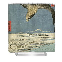 Eagle Over One Hundred Thousand Acre Plain At Susaki Shower Curtain by Hiroshige