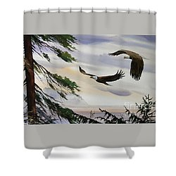 Eagles Romance Shower Curtain by James Williamson