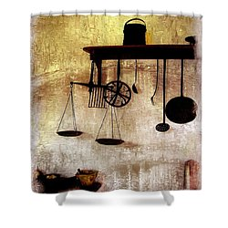 Early Kitchen Tools Shower Curtain by Marcia Lee Jones