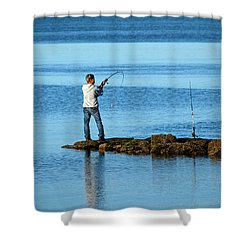 Early Morning Fishing Shower Curtain by Karol Livote