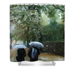 Early Snow Shower Curtain by Michael Pickett