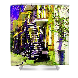 Early Spring Stroll City Streets With Spiral Staircases Art Of Montreal Street Scenes Carole Spandau Shower Curtain by Carole Spandau
