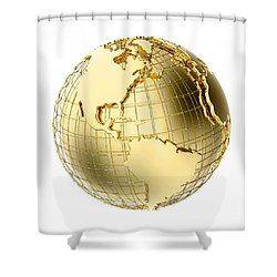 Earth In Gold Metal Isolated On White Shower Curtain by Johan Swanepoel