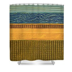 Earth Layers Abstract L Shower Curtain by Michelle Calkins