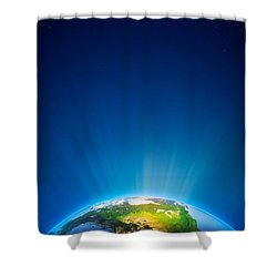 Earth Radiant Light Series - North America Shower Curtain by Johan Swanepoel