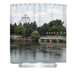 East Riverfront Park And Dam - Spokane Washington Shower Curtain by Daniel Hagerman