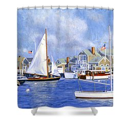 Easy Street Basin Blues Shower Curtain by Candace Lovely