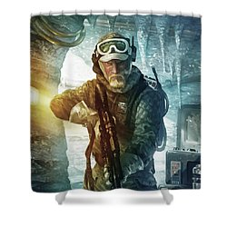 Echo Base Trooper Shower Curtain by Ryan Barger