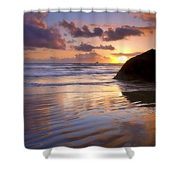 Ecola Sunset Shower Curtain by Mike  Dawson