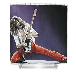 Eddie Van Halen Shower Curtain by Tom Carlton