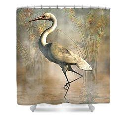 Egret Shower Curtain by Daniel Eskridge