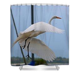 Egret In Flight Shower Curtain by Debra Forand