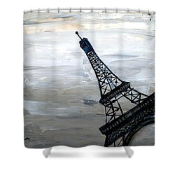 Eiffel Tower Silhouette Shower Curtain by Holly Anderson