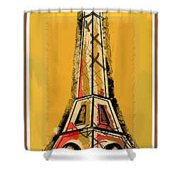 Eiffel Tower Yellow Black And Red Shower Curtain by Robyn Saunders