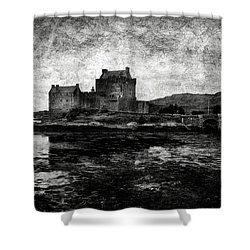 Eilean Donan Castle In Scotland Bw Shower Curtain by RicardMN Photography