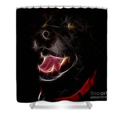 Electric Canine Shower Curtain by Barbara Griffin