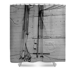 Electric Wall In Black And White Shower Curtain by Rob Hans