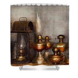 Electrician - A Collection Of Oil Lanterns  Shower Curtain by Mike Savad