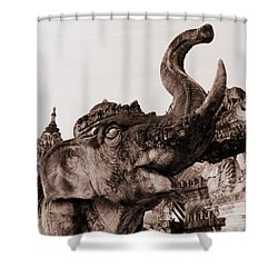 Elephant Architecture Shower Curtain by Ramona Johnston