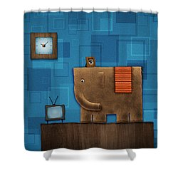 Elephant On The Wall Shower Curtain by Gianfranco Weiss