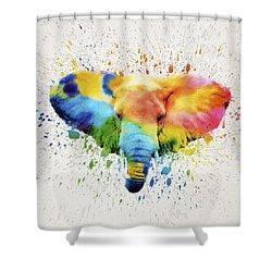 Elephant Splash Shower Curtain by Aged Pixel