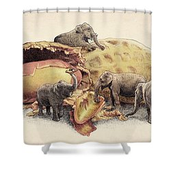 Elephant's Paradise Shower Curtain by Eric Fan