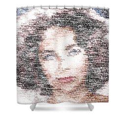 Elizabeth Taylor Typo Shower Curtain by Taylan Soyturk