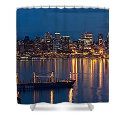 Elliott Bay Seattle Skyline Night Reflections  Shower Curtain by Mike Reid